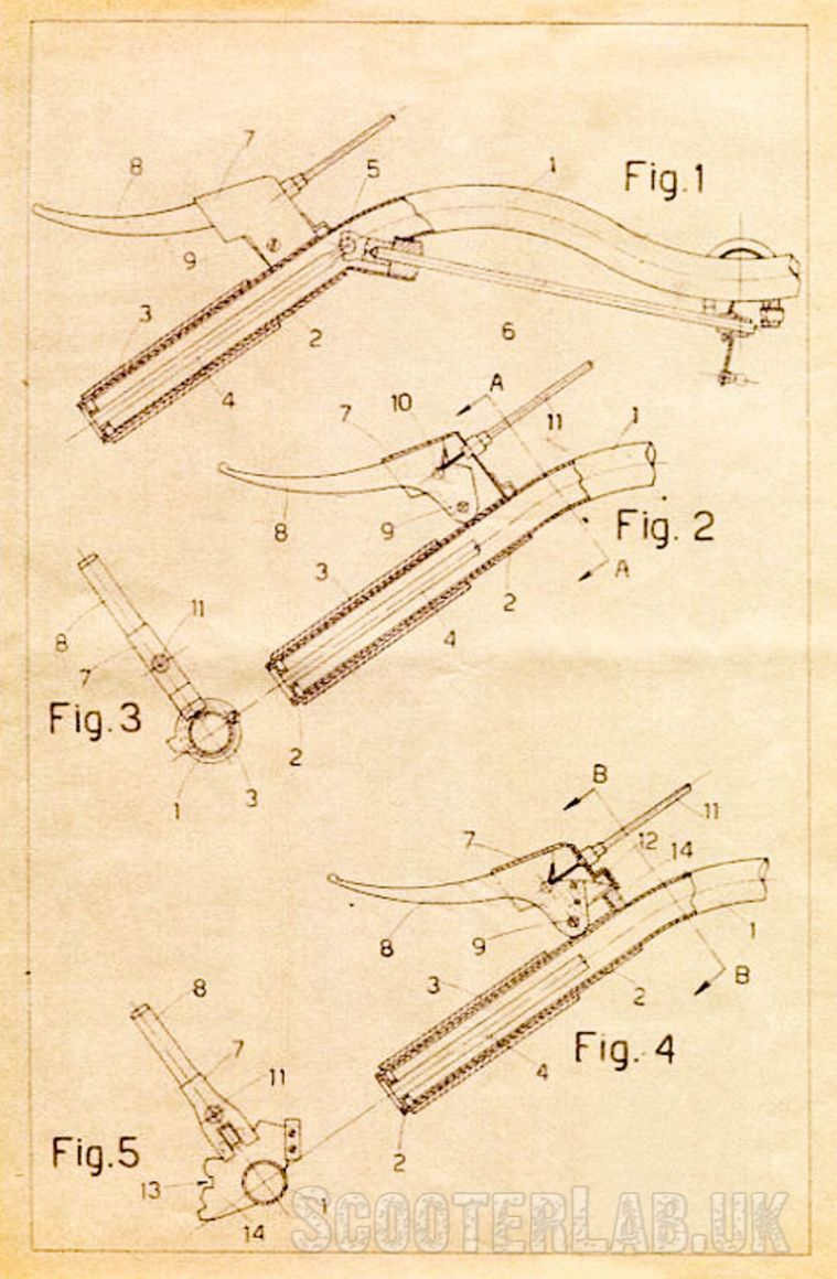 Piaggio's first patented gearchange was the 'rod' system, but they also patented opposed Bowden cables.