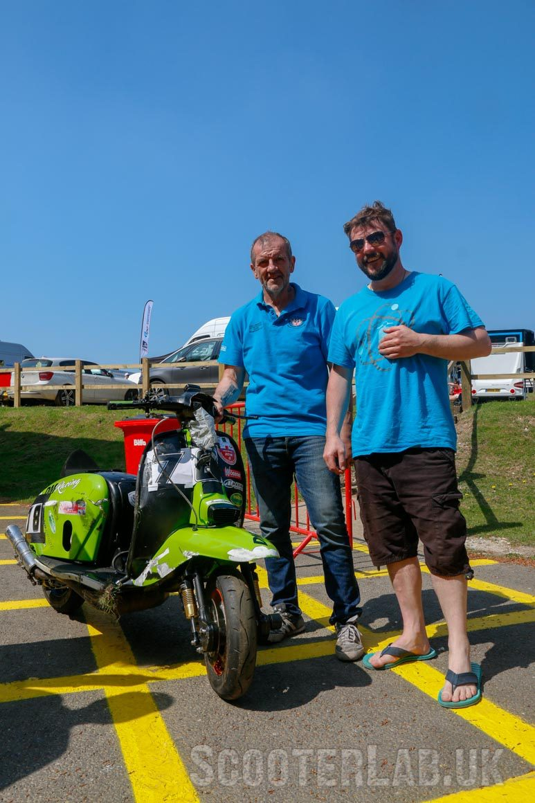 Dave Marsden needs some new forks and a headset after lending Barrie his scooter. Can you help? Barrie Braithwaite (right) still smiling despite breaking a few ribs - and a few classic scooters...
